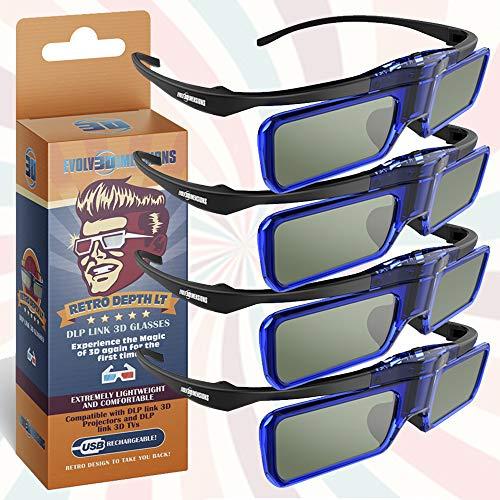 RetroDepth LT Lightweight Rechargeable DLP Link 3D Glasses for all DLP 3D Projectors (Benq, Optoma, Acer, Vivitek, Dell Etc) by Evolv3Dimensions (4 Pack)