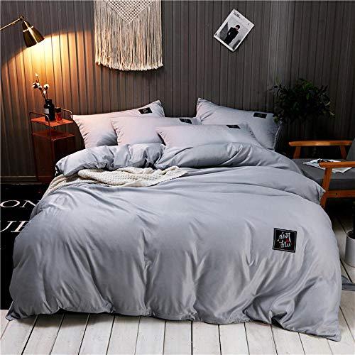 YAHAO Seidenbettwäsche Set 4 Teilig, Bettbezug Kissenbezug, Hypoallergen Maulbeerseide Bettwäsche, Ultra Weich Und Glatt,Grey-200 * 230cm