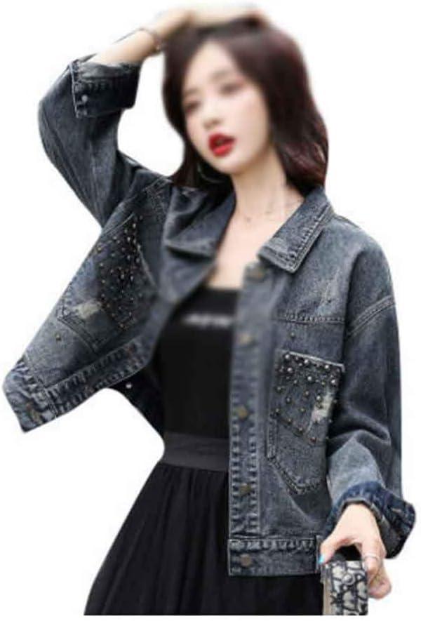PDGJG Women's Denim Jacket Short Spring and Autumn Loose Clip Beaded Denim Jacket Coat Jacket (Size : Small Size)