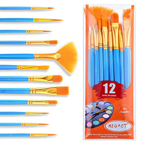 NEOACT Painting Brush Set, 1 Pack of 12 Pieces, Nylon Brush Head, Suitable for Oil Painting, Watercolor, etc, The Best Gift for Painting Lovers.