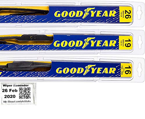 Windshield Wiper Blade Set/Kit/Bundle for 2010-2015 Toyota Prius - Driver, Passenger Blade & Rear Blade & Reminder Sticker (Premium with Goodyear Rear)