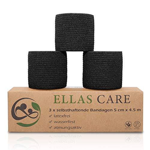 Ellas Care Snelle wondverband zelfklevende bandage pleisterverband fixeerband dierverband elastische verband - eersteklas hulp voor mens en dier - 5 cm x 4,5 m - latexvrij, waterdicht, ademend, 5cm x 4,5m, 3 x zwart