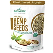 Organic Hulled Hemp Seeds 16oz   Raw Hemp Hearts 9g of Protein Omegas 3 and 6 Fatty Acids - Vegan, Keto, Paleo Friendly Low Carb Energizing Superfood For Snack, Salads, Topping by Alovitiox   1 lb Bag