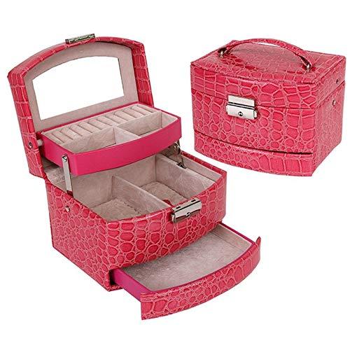 XKMY Joyero organizador automático de cuero caja de joyería de tres capas de almacenamiento para mujeres pendientes anillo organizador cosmético ataúd para decoraciones (color: rosa)