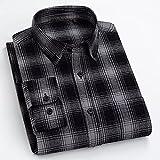 Camisas Hombre Manga Larga,Camisa A Cuadros De Algodón Camisas Casuales Camisas Clásicas A Cuadros Gris Y Negro para Hombre Camisas Regulares con Botones De Bolsillo Padre N