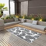 Festnight Alfombra Interior Exterior Terraza Balcón Intemperie l Diversos Colores Y Tamaños, tamaño:160x230 cm, Color: Blanco y Negro