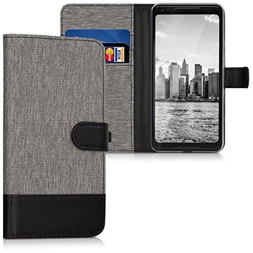kwmobile Wallet Hülle kompatibel mit Google Pixel 2 XL - Hülle mit Ständer - Handyhülle Kartenfächer Grau Schwarz