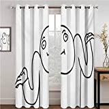 GUUVOR Humor Wear-Resistant Color Curtain Whatever Guy Meme Confusion Gesture Label Creative Drawing Rage Makers Design 2 Panel Sets W96 x L84 Inch Black and White