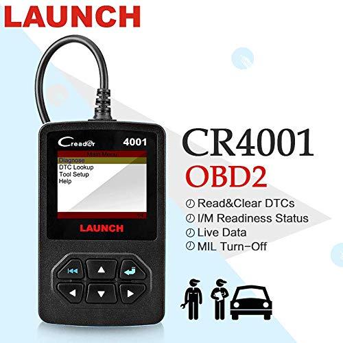 Launch CR4001 obd2 Fehlercodelesegerät für Motor Steuergerät,schnell DTC suchen,Echtzeitdaten und Speicherndaten anzeigen,O2 Sensor und EVAP System teseten(Deutsch)