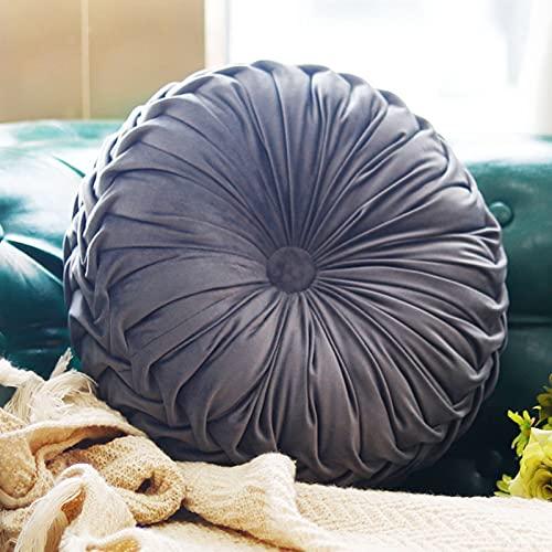 Boyigog Cojín redondo con forma de calabaza, 38 cm, de terciopelo, para decoración del hogar, sofá, silla, cama, coche (gris)