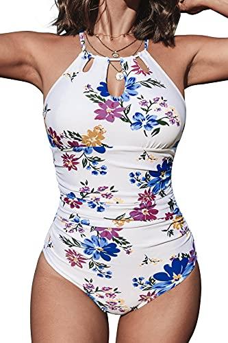 CUPSHE Damen Badeanzug High Neck Bauchweg Blumenmuster Cut Out Einteilige Bademode Swimsuit Weiß/Blumen L
