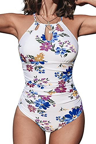 CUPSHE Traje de baño de una pieza para mujer con cuello alto y control de barriga - - XX-Large
