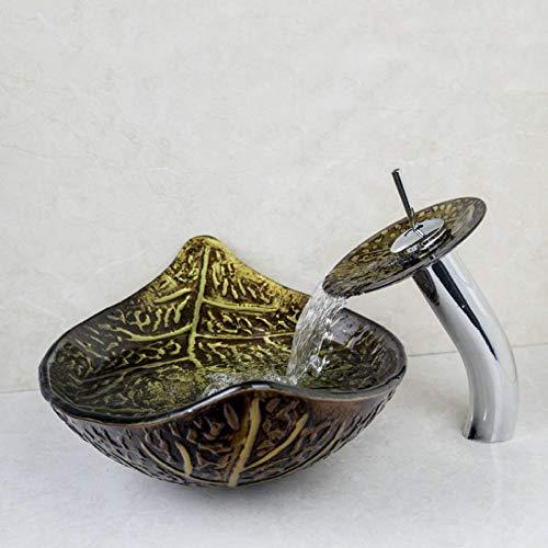 Jgophu Lavabo de cristal templado pintado a mano con diseño de hoja de arce y grifo
