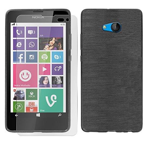 Conie SE219567 2er Set 9H Folie + Brushed Hülle Kompatibel mit Microsoft Lumia 535, Handyhülle Set bestehend aus Folie Panzerglas & Brushed Silikon Hülle für Lumia 535 Set Schwarz