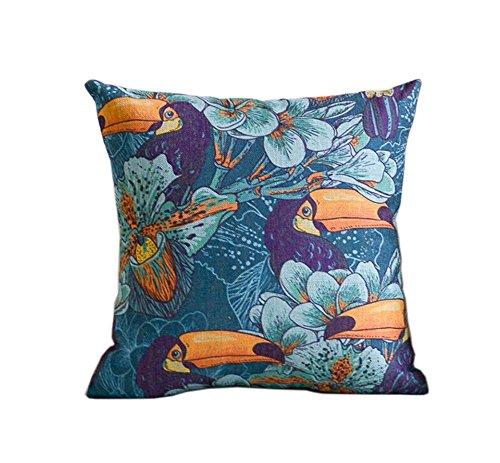 belle rétro motif oiseau bleu ameublement de maison oreiller / coussin