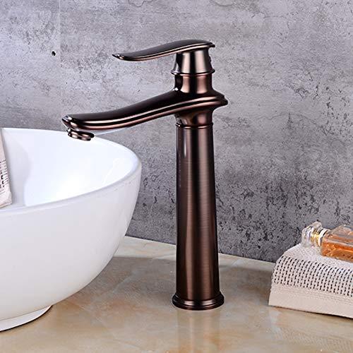 Grifo antiguo de bronce negro europeo, caliente y fría lavabo negro grifo, grifo de lavabo de mesa, grifo de agua fría y caliente, ORB alto