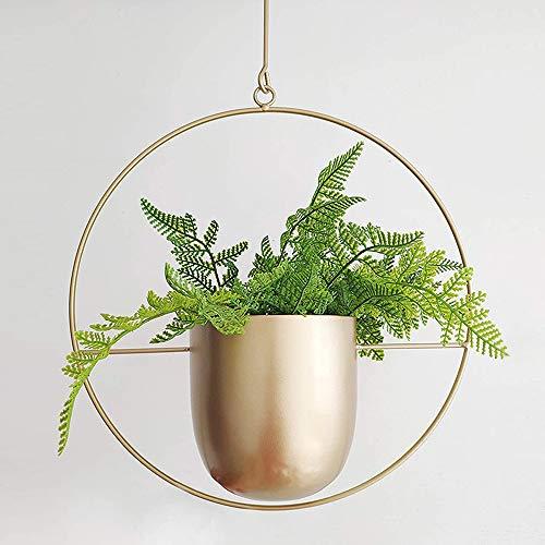 UMYMAYDO1 Hängende Blumenampel Metall Dekorationstopf Decke hängender Übertopf Pflanzkorb Chlorophytum für Zimmerpflanzen Außen Innen Terrasse Veranda Balkon (Gold-A)