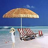TTOOY Parasol Redondo inclinable con protección UV, Estilo Hawaiano, con manivela, jardín al Aire Libre, 1,8 m / 6 pies, para Piscina, Patio, Playa, pequeño bistró