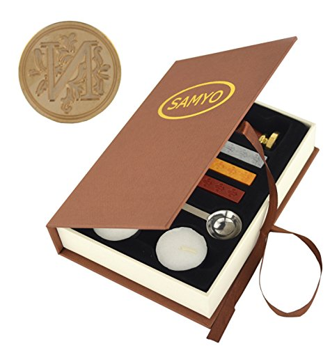 Samyo Wax Seal Stamp Kit Retro Creative Sealing Wax Stamp Maker Gift Box Set Brass Color Head with Vintage Classic Alphabet Initial Letter (N)