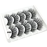 5 Pairs Lashes Handmade 3D False Eyelashes Extension Set Professional for Women's Make Up Mink Hair Long Lashes Natural Soft and Comfortable (#46)