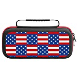 Patriotic Plaid Carrying Storage Case for Nintendo Switch, Portable Travel All Protective Hard Messenger Bag Soft Lining 20 Games for Switch Console Pro Controller & Accessories Black