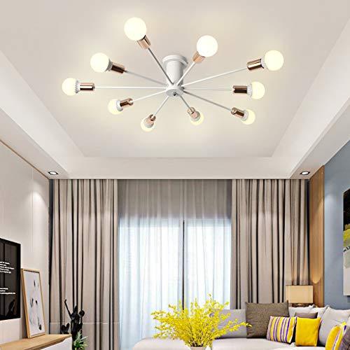 JLXW Moderne plafondlampen, plafondlampen armatuur met 10 E27-fitting, kroonluchter lamp voor woonkamer restaurant eetkamer café (zonder lampen)