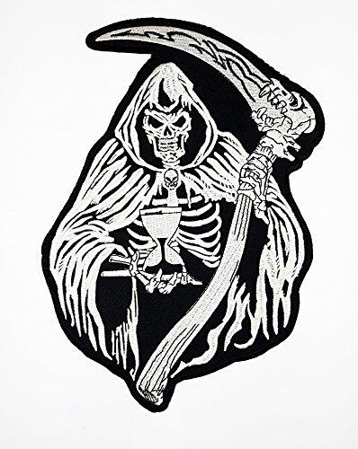 Adhesivo de grandes Parca Patch parche rojo ojos Choppers Ghost Rider chaleco/chaqueta biker moto Rider Biker chaqueta camiseta parche coser hierro en bordados insignia Sign