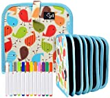 Thursday April Tablero de Dibujo de Pizarra de Graffiti Portátil para Niños Reutilizable de Borrado Repetido de Pizarra con 12 Bolígrafos Borrables Juguetes para Niños Arte(Azul,Resina ABS)