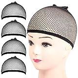 Wig Cap, FANDAMEI 4PCS Black Mesh Wig Cap Net, Closed End Hair Mesh Net Wig Caps, Liner Weaving Caps for Women, Men, Kids