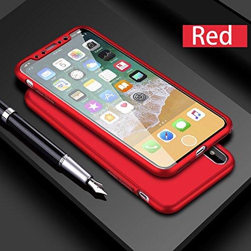 Leobray - Carcasa para iPhone 5 y 5S (silicona de cuerpo completo, con protector de pantalla de cristal templado, a prueba de golpes, acabado mate y TPU), color negro, compatible con iPhone 7/8 Plus