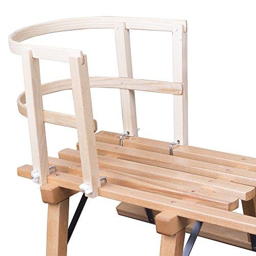 ScSPORTS Schlittenlehne aus Holz massiv Schlitten Lehne Rodel