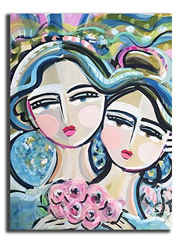 Hangquq Warrior Sisters Rose PRINT on Paper or Canvas Modern Home Decor Bedroom Bathroom Home Office Living Room Decorations 18'x24'