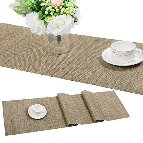 SHACOS Camino de Mesa de PVC Plastico Aislante Resistente a Las Manchas Antideslizante Lavable Camino de Mesa Bambú Decoración del Hogar 30x180 cm