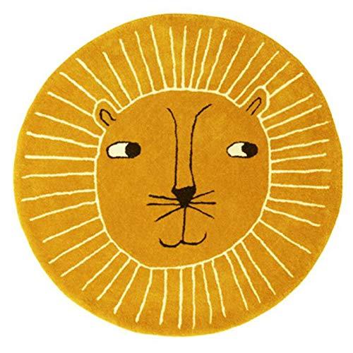 KiKom Alfombras de león de bebé,Cartoon Round Alfombras para bebé,Cachemira de imitación Alfombras,para Niños Niñas Dormitorio Alfombras Amarillo 100CM
