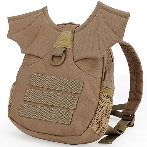 Huenco Mochila táctica Militar para niños, niñas, niños, alas de murciélago, pequeño Diablo, Bolsa para Airsoft, Paintball, Viajes, Senderismo, Acampada, Halloween