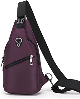 Big Capacity Oxford Cloth Durable Wear Resistant Messenger Shoulder Bag, Classic Waterproof Crossbody Chest Bag Sports Outdoor Riding Bag Hiking Men and Women Pass (Color : Purple)