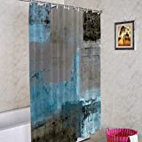 Batmerry Teal Brown Abstract Art Decorative Shower Curtain, Brown Painting Blue and Beige Abstract Contemporary Gallery Cute Long Wide with Rust Proof Grommets for Bathroom Waterproof Washable