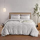 BEDAZZLED Duvet Cover King Size, 3 Pieces Tufted Comforter Cover Set, Soft and Embroidery Shabby Chic Boho Bedding Sets for All Seasons, Light Grey