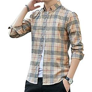 シャツ メンズ チェックシャツ 長袖 カジュアル 綿 レギュラーフィット オックスフォードシャツ 春 秋 冬 卡其3XL