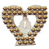 木製 Mr&Mrs Loveハート型チョコレートフレームハートディスプレイスタンドセンターピースパーティーに最適ウェディング&キャンディーバーデコ