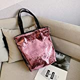 JingHai Bolso de Hombro con Lentejuelas de Doble Cara Que Cambia de Color, Bolso Informal de Moda para Mujer, Bolso de Viaje de Gran Capacidad, 粉 红色