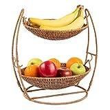 Cesta de mimbre para frutas de 2 niveles, cuenco de mimbre para mostrador de cocina, decoración de mostrador de cocina, cuencos de almacenamiento, soporte para frutas y verduras