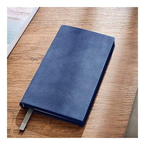 Linjolly Mini cuadernos, superficie suave, piel de oveja auténtica, 6,8 x 3,9, negocios, cuaderno general, exquisita literatura de negocios y arte diario (color azul)