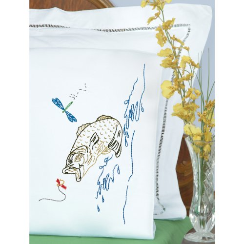 Stamped Pillowcases With White Perle Edge 2/Pkg-Fish/ Sold as a pack of 2