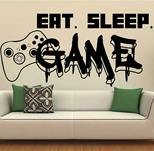 MASERTT Gamer Wall Decal Eat Sleep Game Controller Video Game Wall Sticker para dormitorio Vinyl Decals Mural Wall Decor 118x57cm