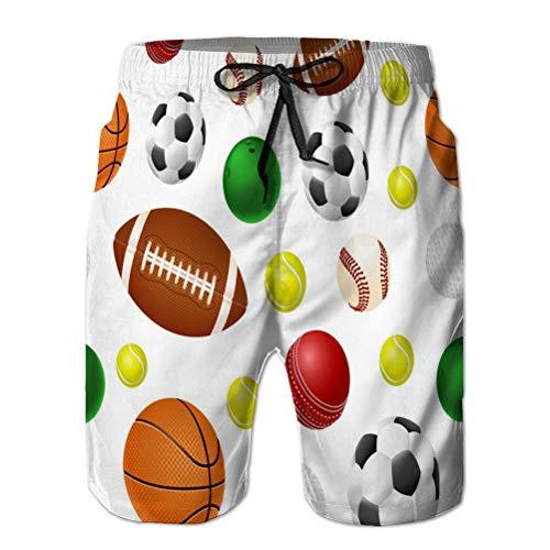 LJKHas232 3D Graphic Mens Summer Swim Funny Beach Board Shorts Ball L