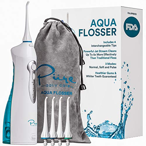 AquaSonic Aqua Flosser - Professional Cordless Oral Irrigator with 4 Tips and Travel Bag, IPX7 Waterproof with 3 Modes