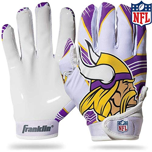 Franklin Sports Minnesota Vikings Youth NFL Football Receiver Gloves - Receiver Gloves For Kids - NFL Team Logos and Silicone Palm - Youth M/L Pair
