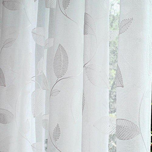 Tende & Drapes - Tende trasparenti ricamate in lino di cotone bianco per trattamenti di finestre, prodotto finito Salotto Passante superiore un pannello, 1 pezzo (200 x 270 cm)