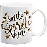 Smile Sparkle Shine Taza de café de cerámica de 11 onzas Taza de té